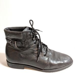 Danexx ankle black leather boots, size 9